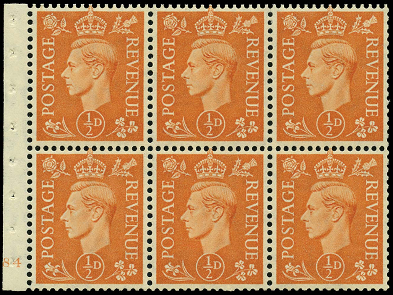 GB 1951  SG503d Booklet pane E84 (no dot)