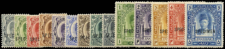 ZANZIBAR 1908  SG225s/238s Specimen