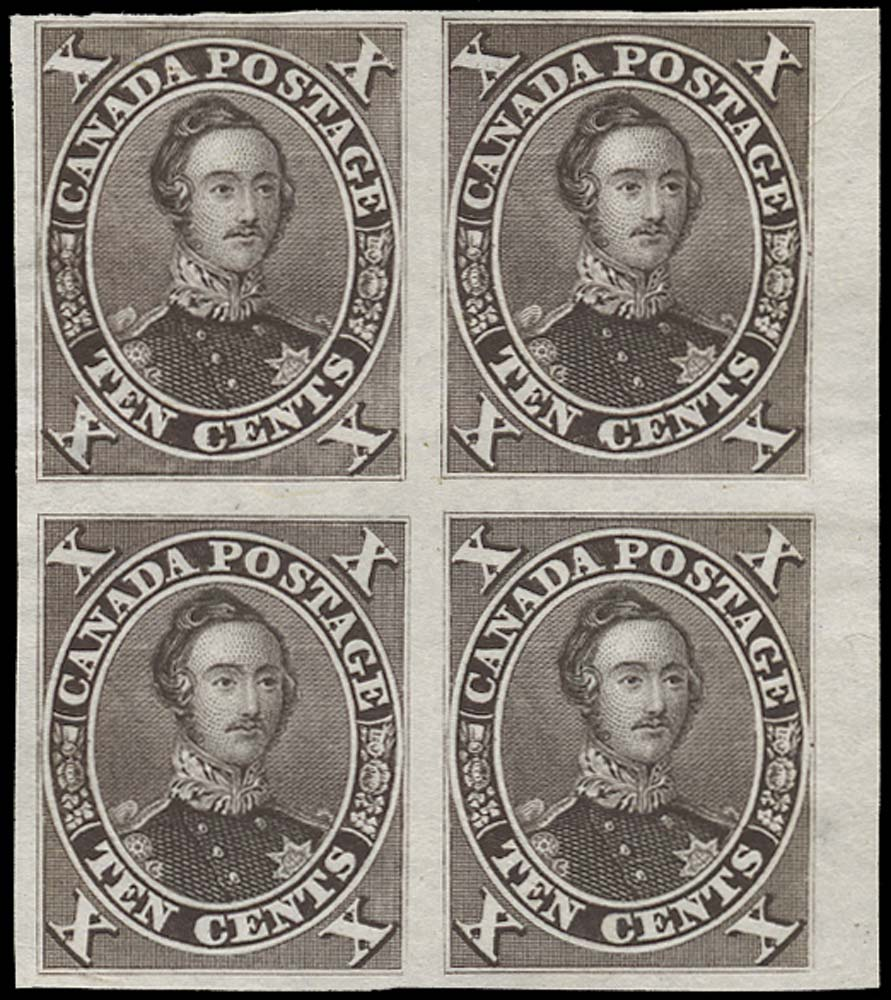 CANADA 1859  SG33 Proof 10c black-brown with position #29 re-entry