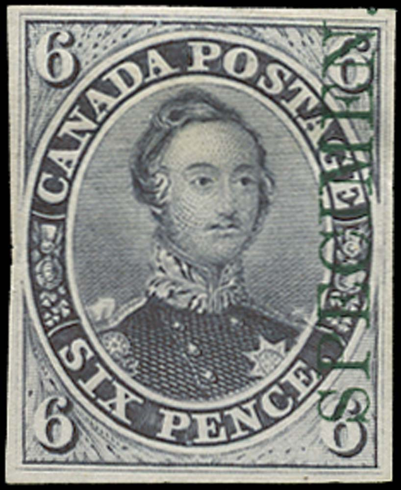 CANADA 1851  SG2 Proof 6d Prince Albert overprint in green
