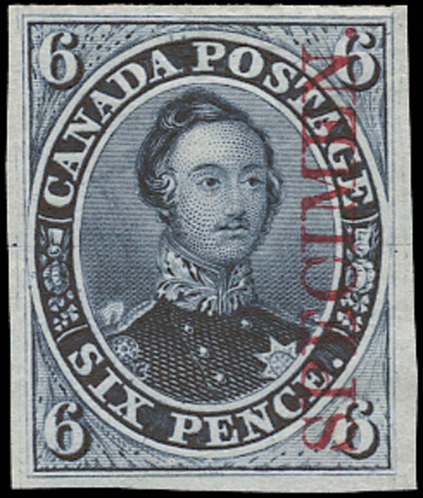 CANADA 1851  SG2 Proof 6d Prince Albert overprint in carmine