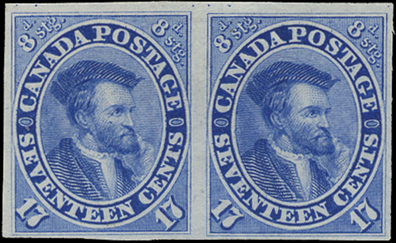 CANADA 1859  SG42 Proof 17c Jacques Cartier in pale blue