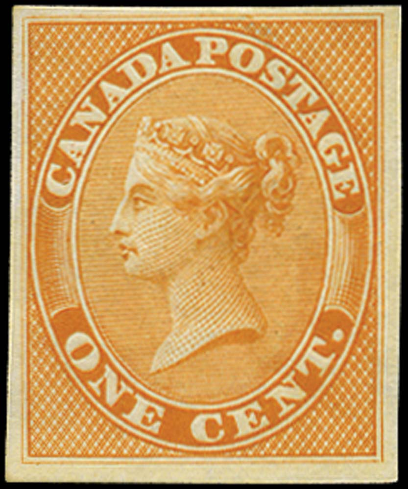 CANADA 1859  SG29 Proof 1c orange-yellow