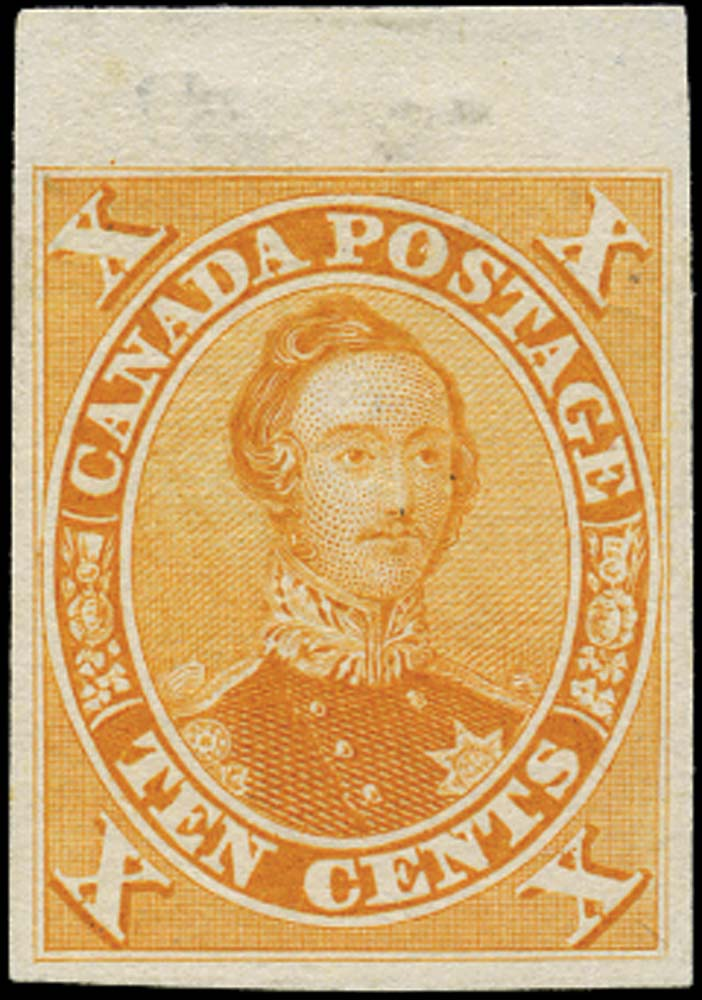 CANADA 1859  SG33 Proof Prince Albert 10c orange-yellow