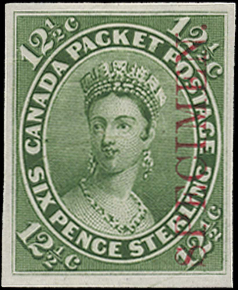 CANADA 1859  SG39 Proof 12½c yellow-green