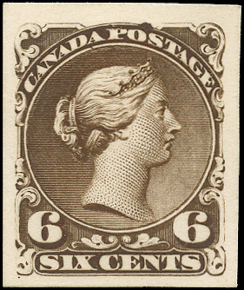 CANADA 1868  SG50 Proof Large Queen 6c dark brown
