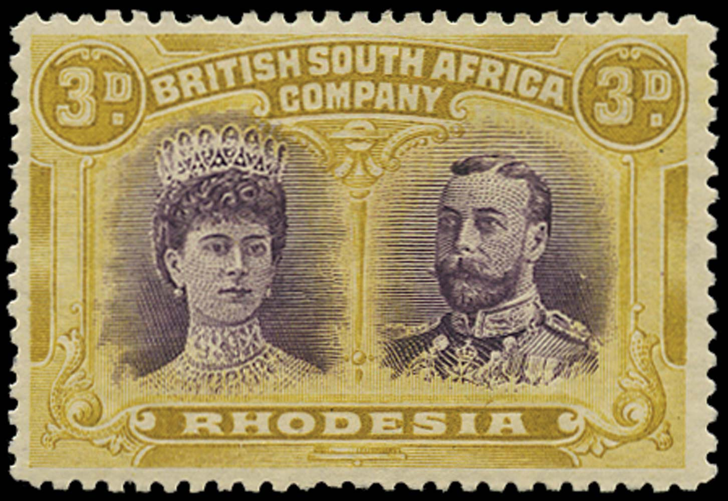 RHODESIA 1910  SG137 Mint Double Heads 3d violet and ochre