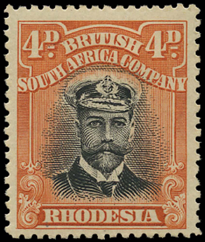 RHODESIA 1913  SG216 Mint Admiral 4d head die I perf 15