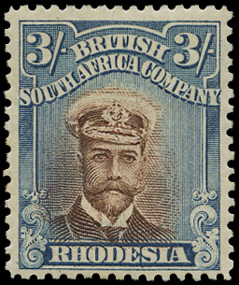 RHODESIA 1913  SG236b Mint Admiral 3s head die II perf 14 misplaced vignette