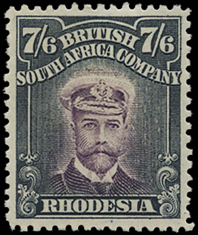 RHODESIA 1913  SG240 Mint Admiral 7s6d head die II perf 14