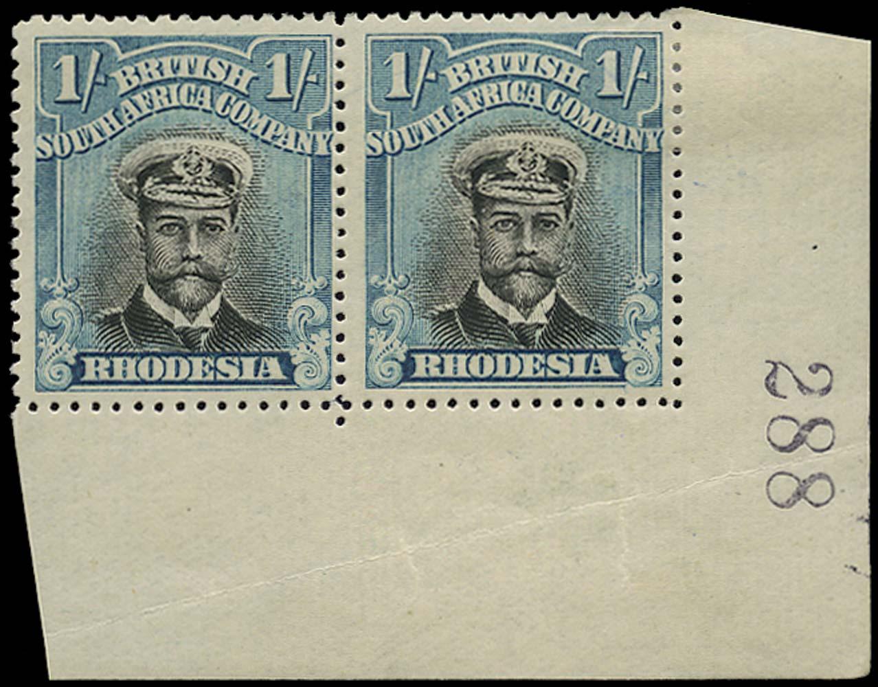 RHODESIA 1913  SG248 Mint Admiral 1s head die II perf 15 pair with sheet number