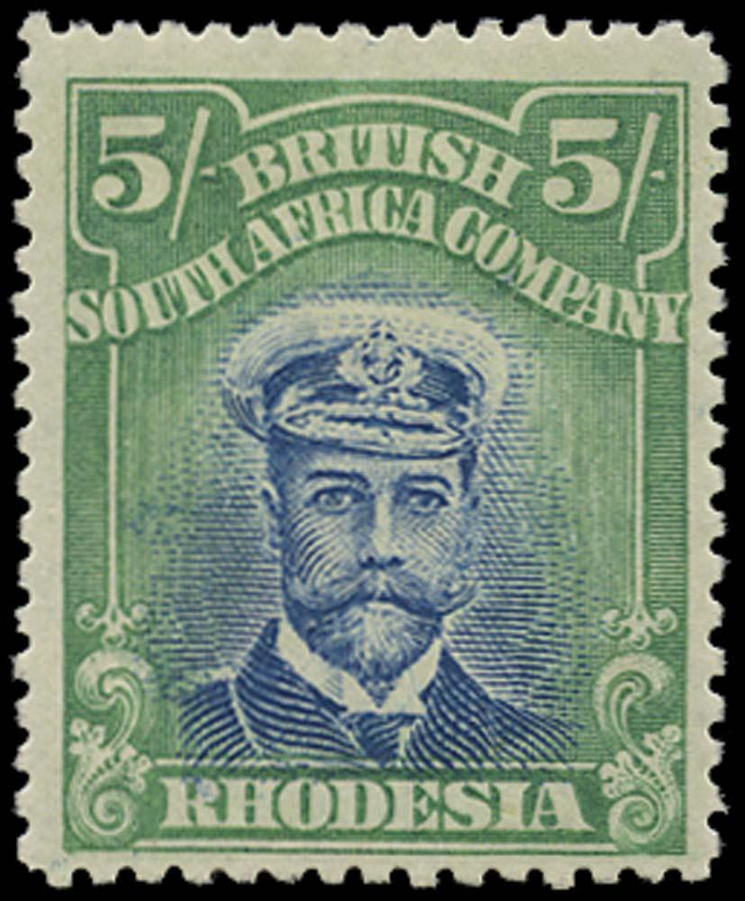 RHODESIA 1913  SG251 Mint Admiral 5s head die II perf 15