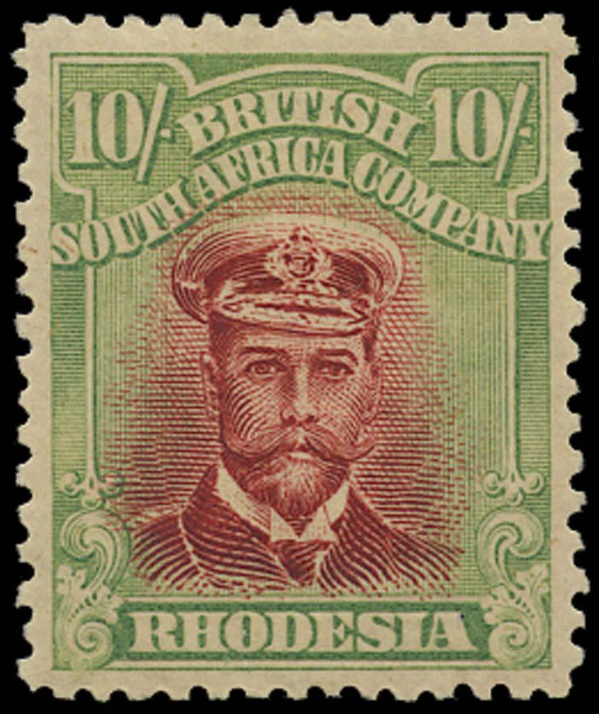 RHODESIA 1913  SG255q Mint Admiral 10s head die IIIA perf 14