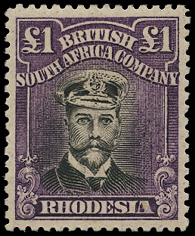 RHODESIA 1913  SG279 Mint Admiral £1 head die IIIB perf 14