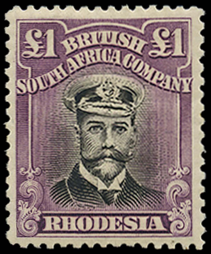 RHODESIA 1922  SG311 Mint Admiral £1 white paper perf 14