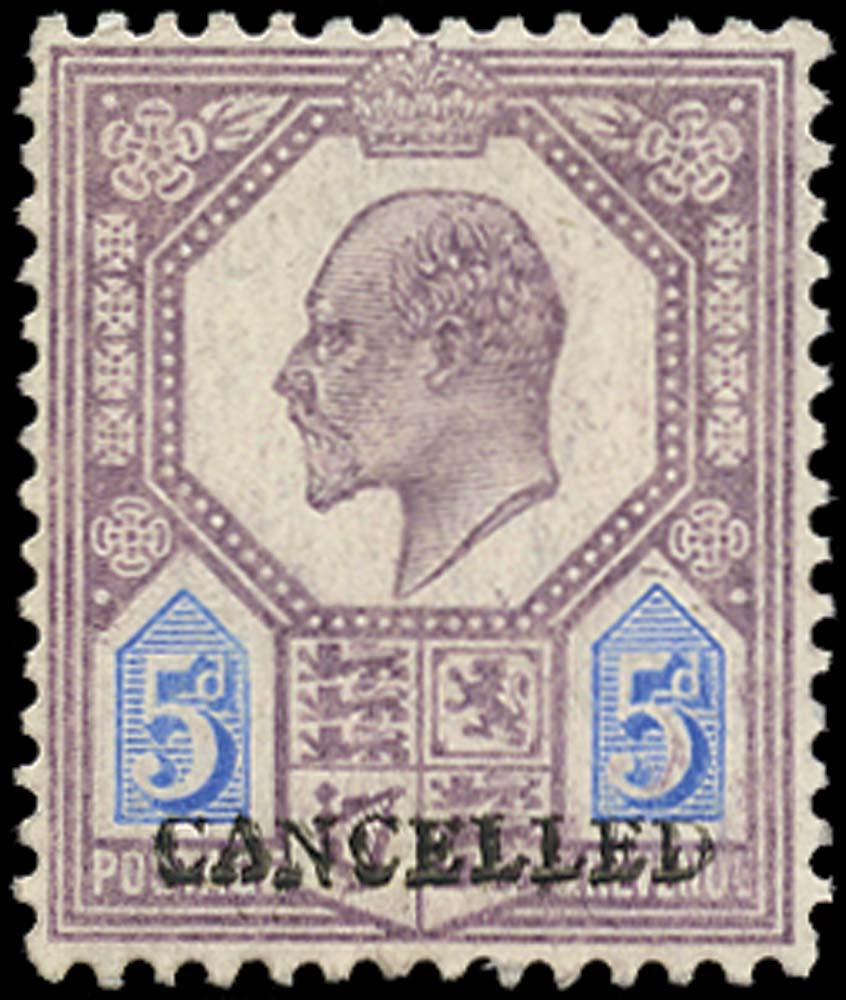 GB 1906  SG242a var Specimen - Cancelled type 19