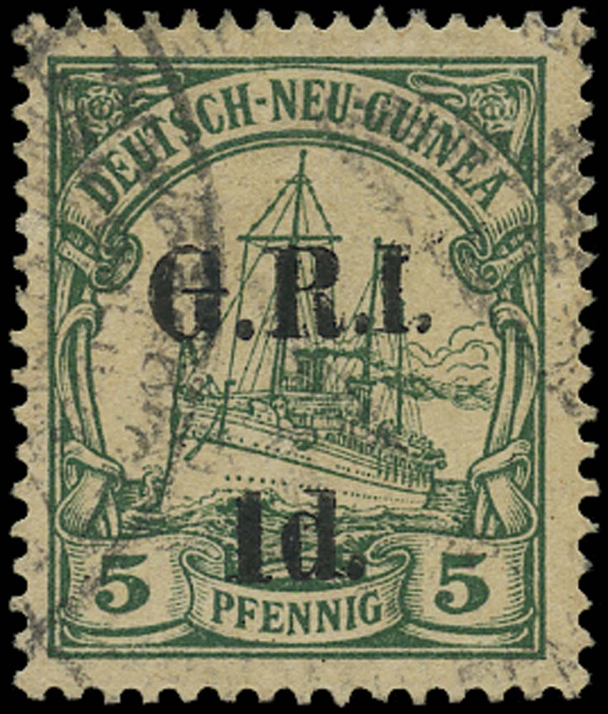 NEW GUINEA 1914  SG2a Used G.R.I. 1d on 5pf green '1' for 'I'