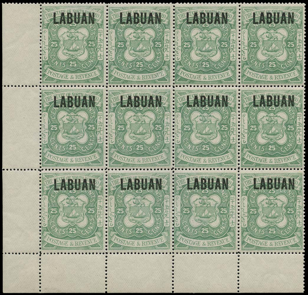 LABUAN 1896  SG80 Mint 25c green type 15 overprint