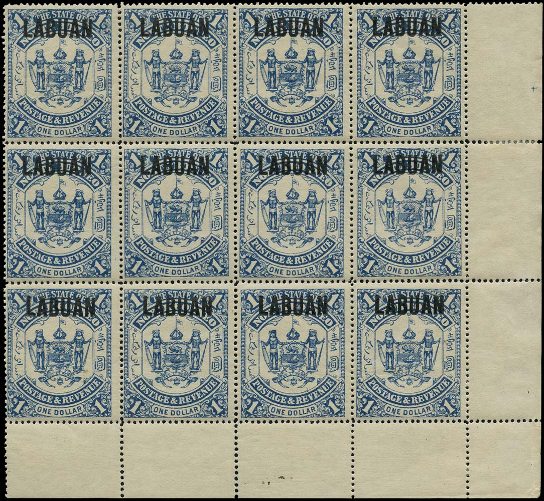 LABUAN 1896  SG82 Mint $1 blue type 15 overprint