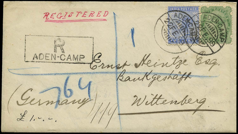 ADEN 1899  SGZ49, Z59 Cover registered cover from Aden Camp