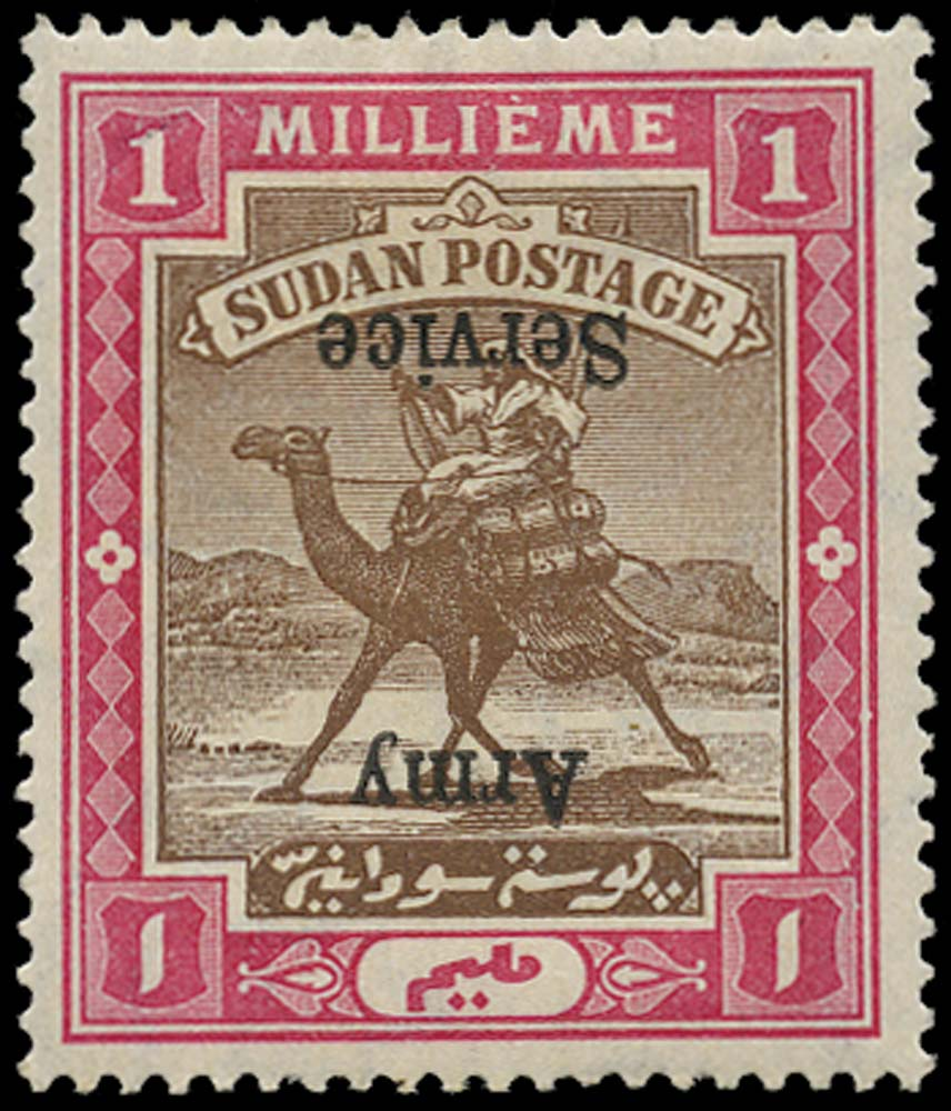 SUDAN 1906  SGA6b Official 1m Army Service overprint inverted
