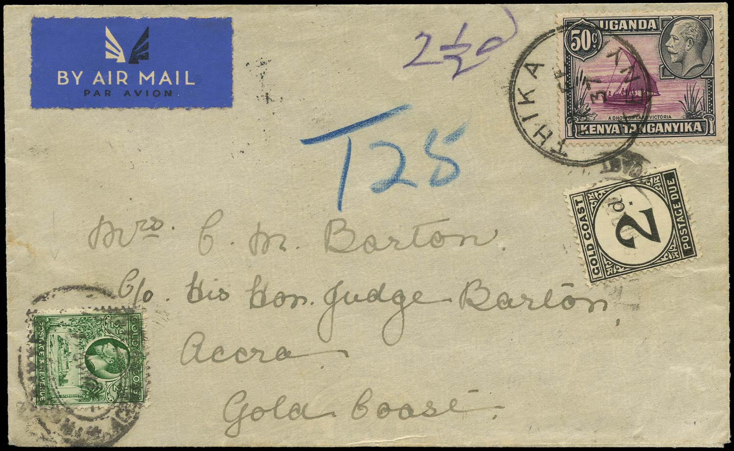 GOLD COAST 1937  SG86, D3 Cover incoming underpaid cover from Kenya