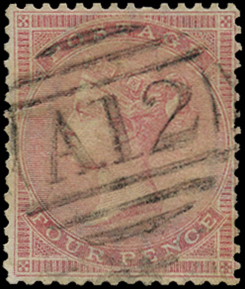 ST CHRISTOPHER 1858  SGZ3 Cancel Great Britain 4d rose used with A12 numeral