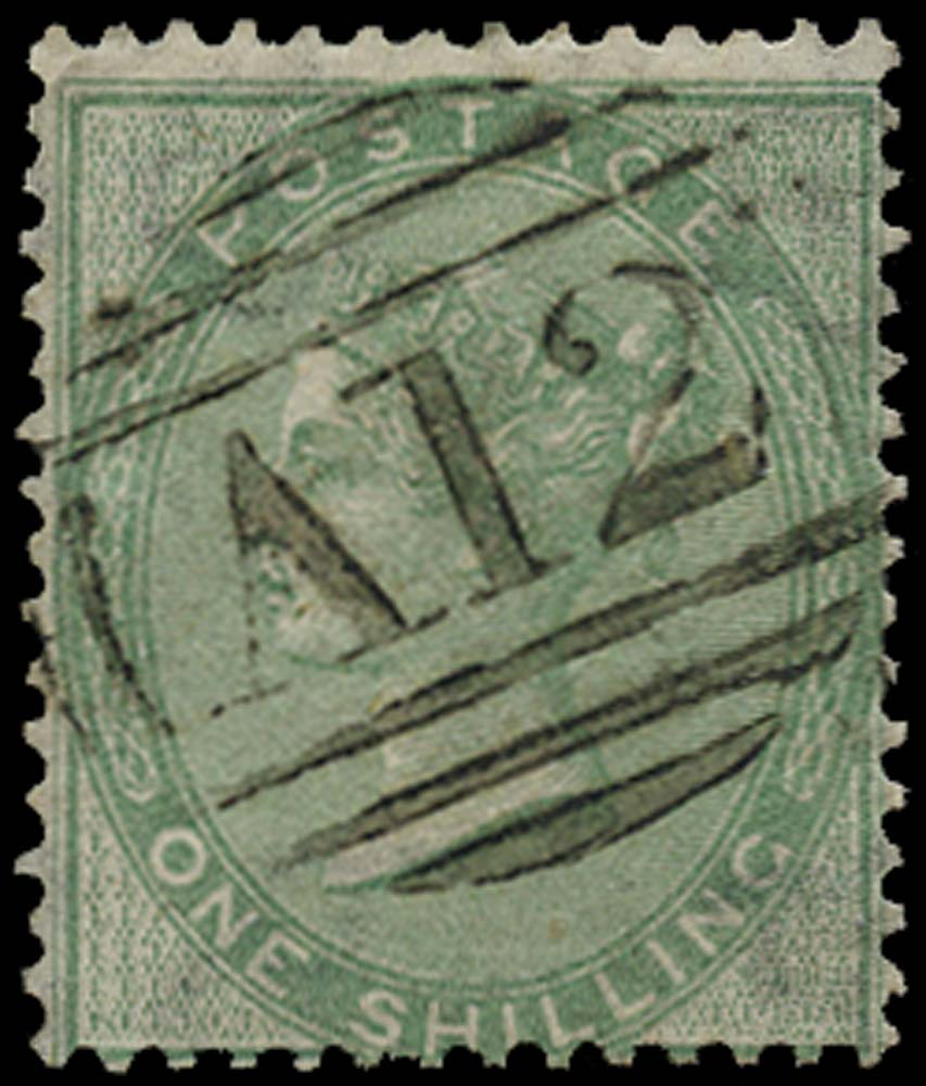 ST CHRISTOPHER 1858  SGZ5 Cancel Great Britain 1s green used with A12 numeral