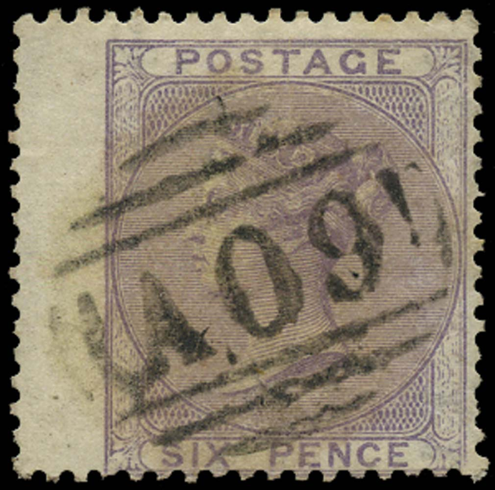 NEVIS 1858  SGZ4 Cancel Great Britain 6d lilac with A09 numeral