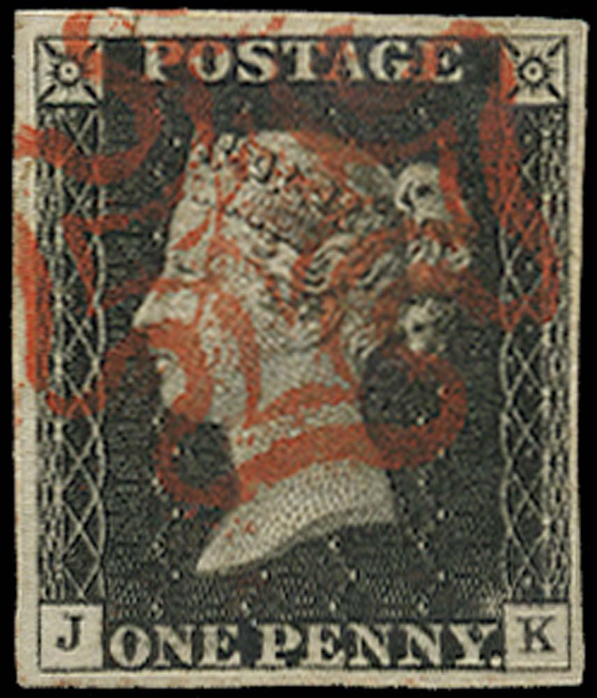 GB 1840  SG2 Pl.2 Penny Black VFU lettered JK