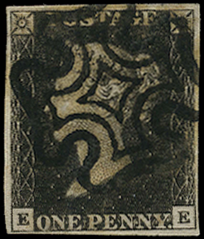 GB 1840  SG2 Pl.9 Penny Black VFU lettered EE
