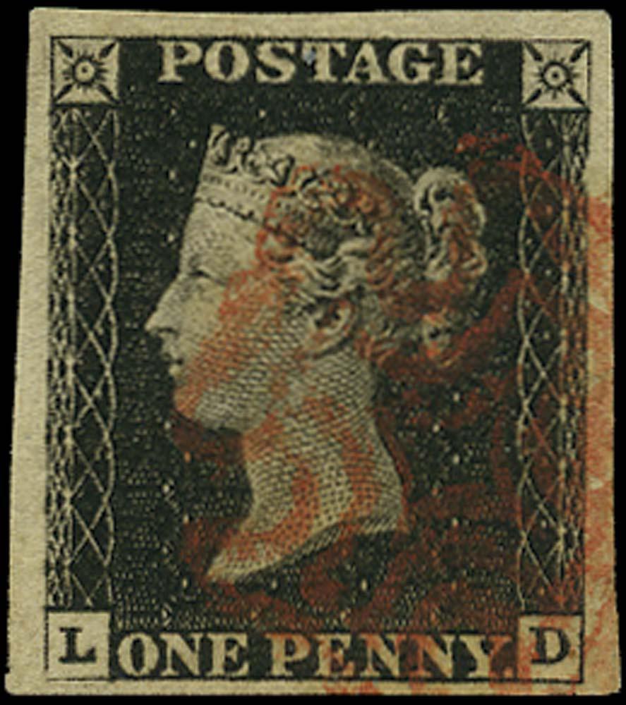 GB 1840  SG2 Pl.1b Penny Black Used red MC (LD)