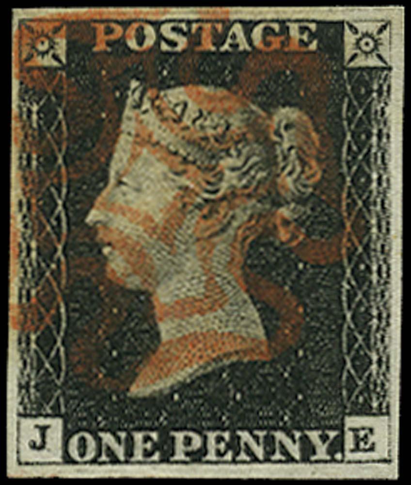 GB 1840  SG2 Pl.4 Penny Black Used red MC (JE)
