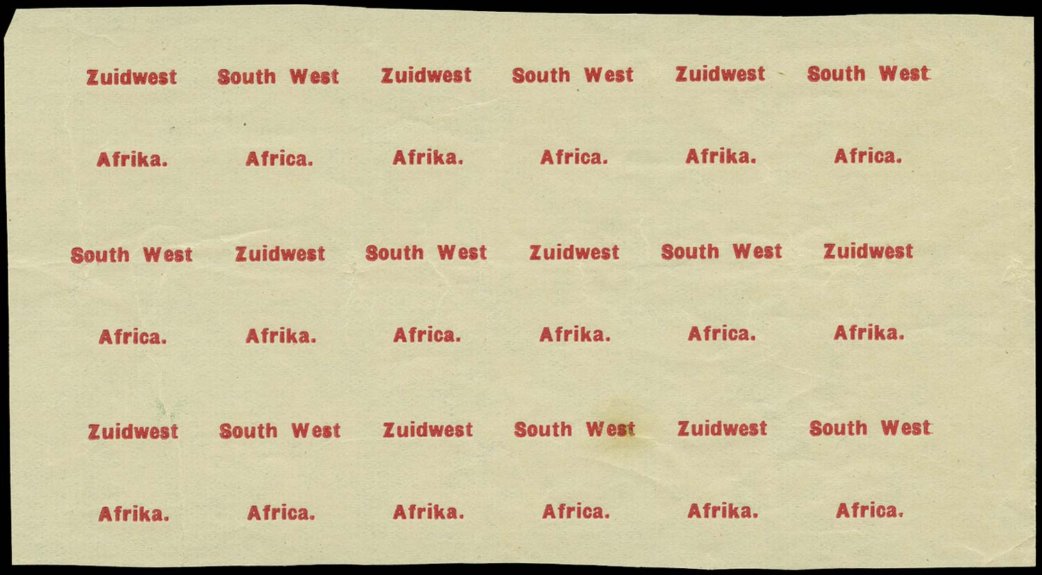 SOUTH WEST AFRICA 1924  SG29/40 Proof type 3/4 overprint from Setting VI