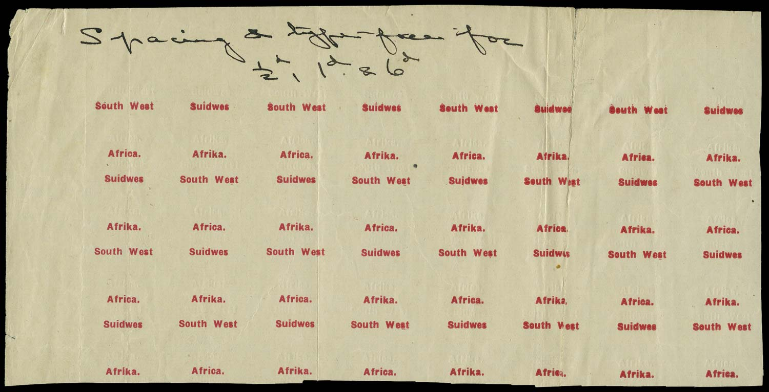 SOUTH WEST AFRICA 1926  SG41/43 Proof type 5&6 vertical overprint