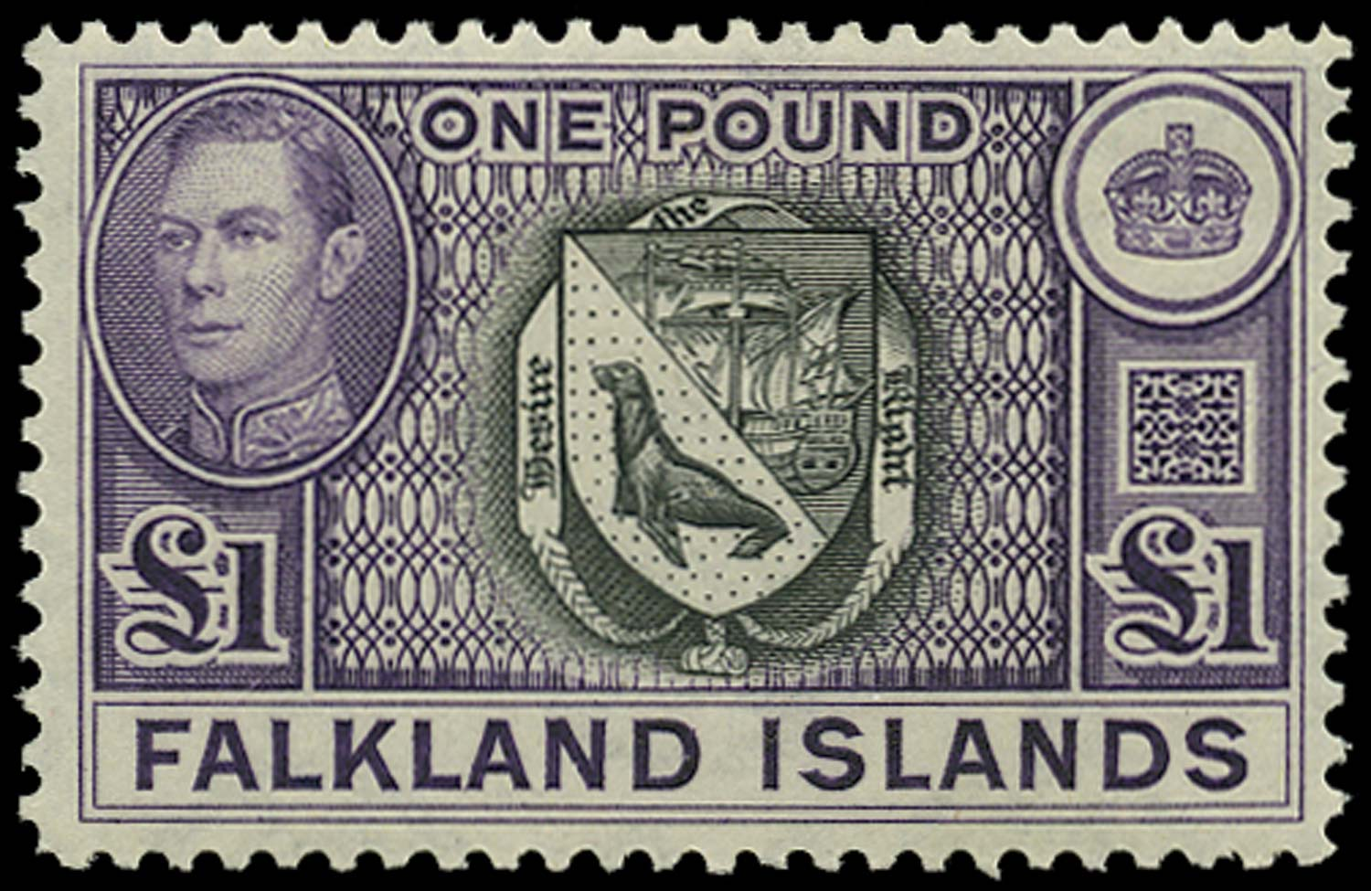 FALKLAND ISLANDS 1938  SG163 var Mint £1 black and violet 1949 fourth printing