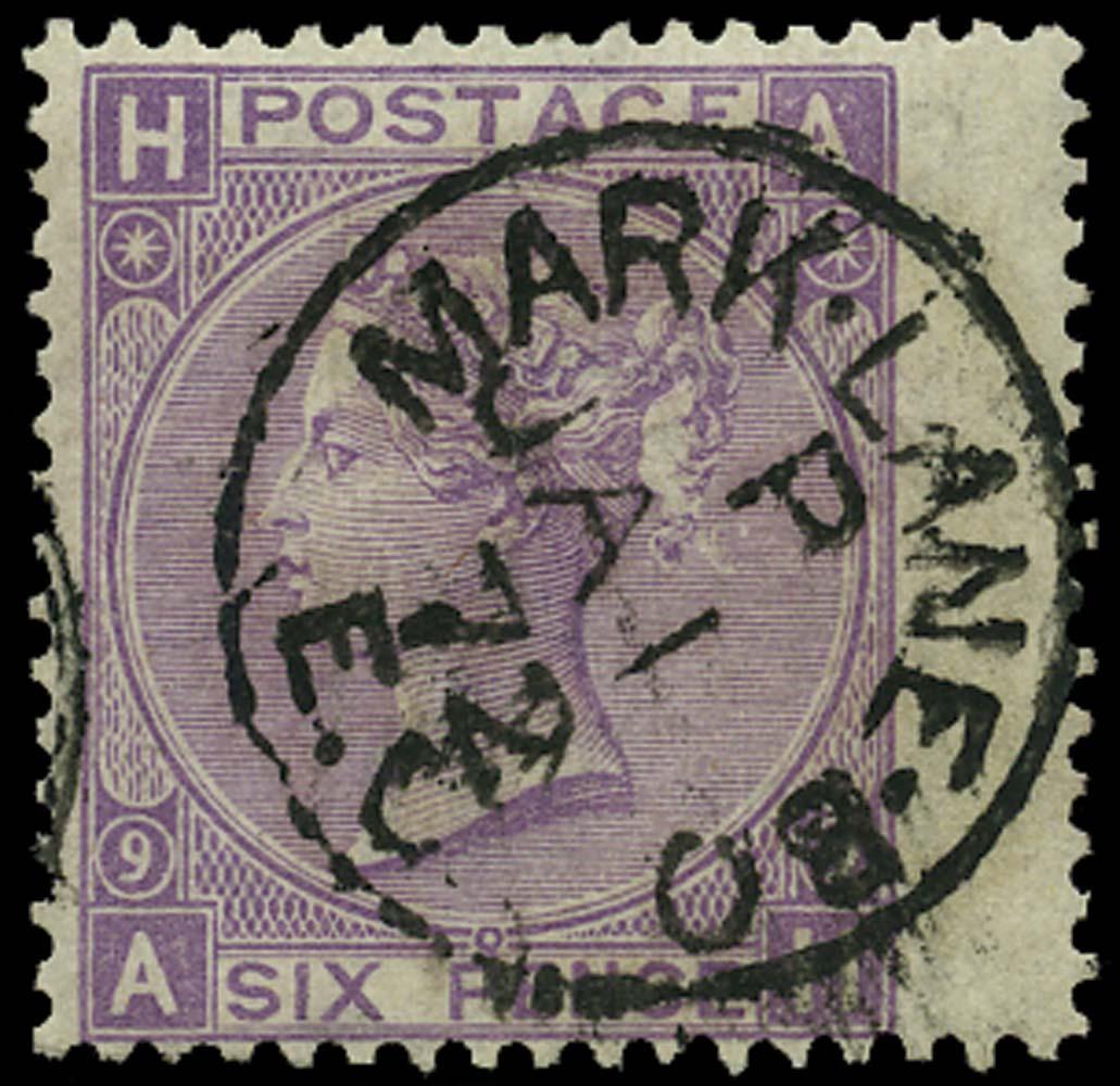 GB 1870  SG109 Pl.9 Used Mark Lane B.O. cds