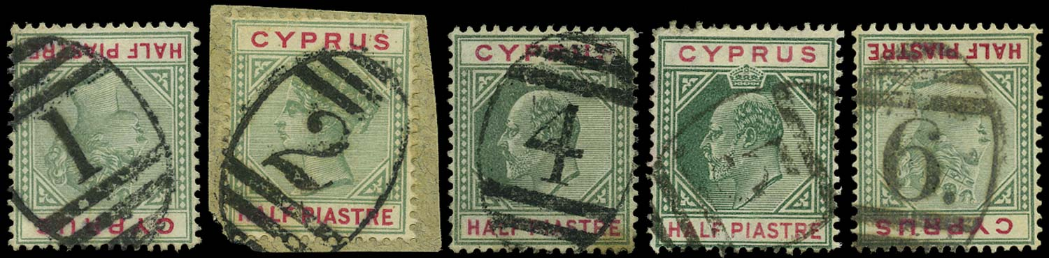 CYPRUS 1894  SG40, 62 Cancel rural post office numeral cancels 1-6