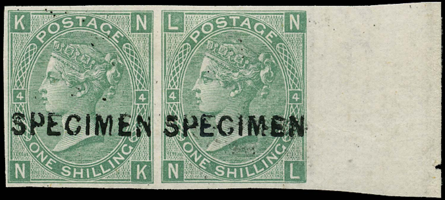 GB 1867  SG117 Pl.4 Specimen Imperforate pair