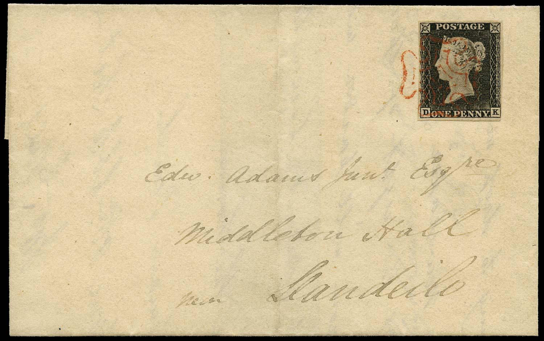 GB 1840  SG3 Pl.1a Penny Black Rhydlewis to Llandeilo