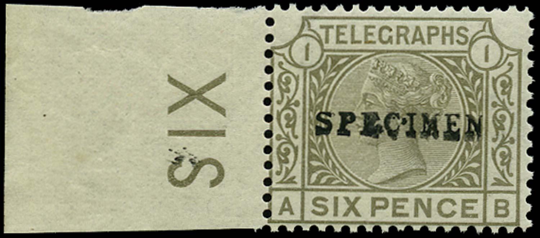 GB 1877  SGT6s Pl.1 Telegraph - SPECIMEN type 9