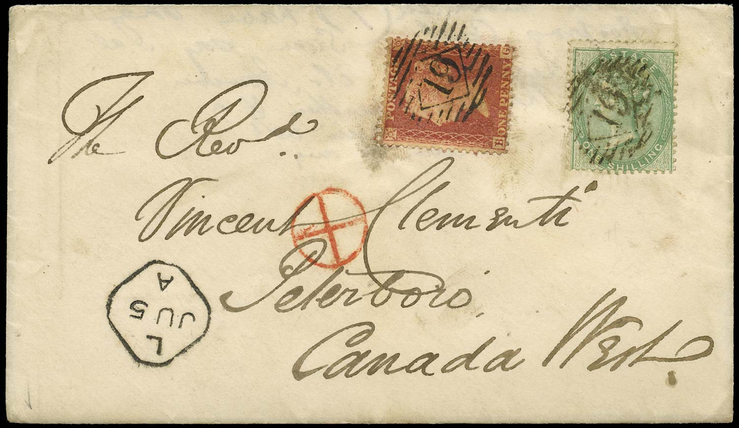 GB 1858  SG40, 72 Cover London to Peterboro, Canada