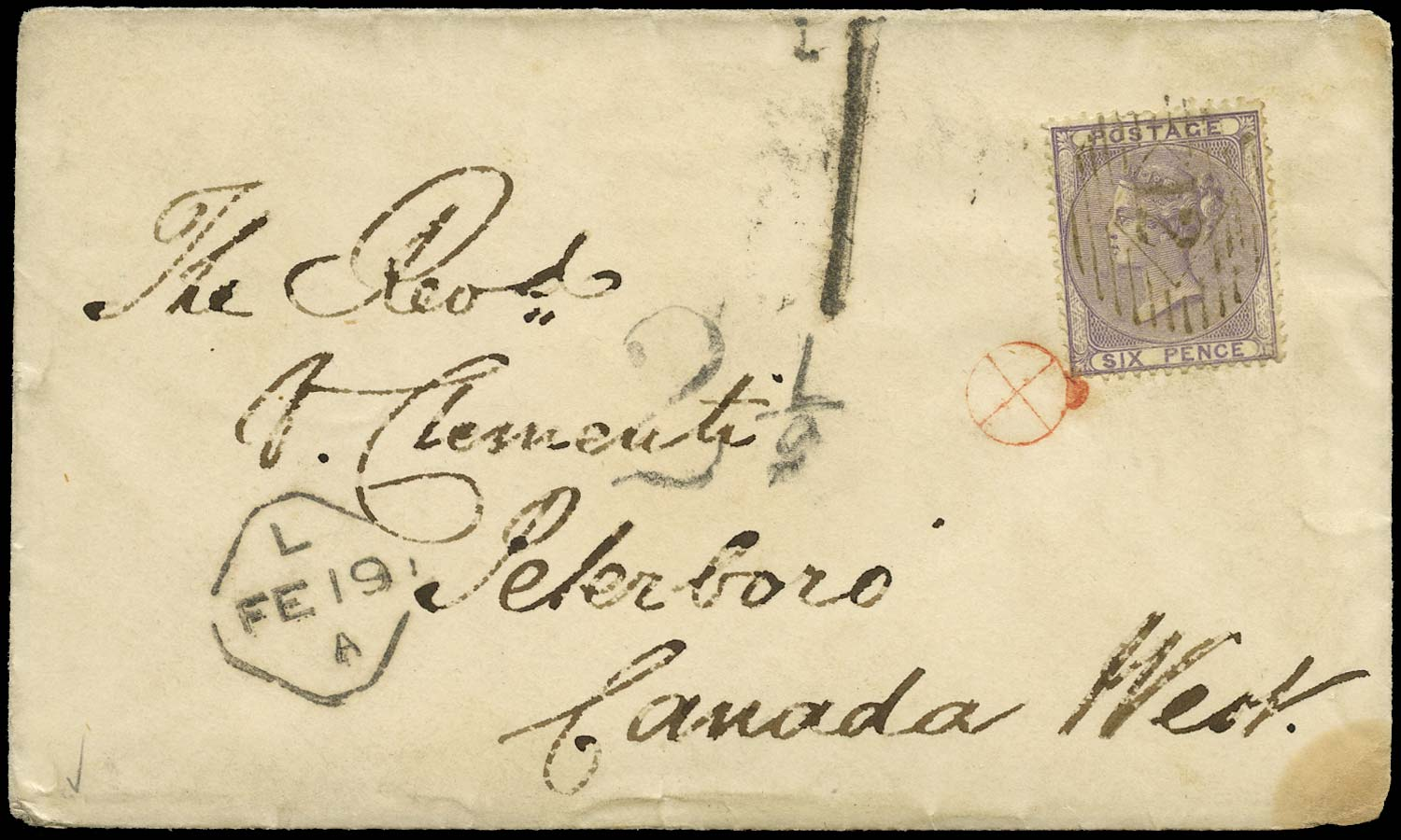 GB 1859  SG68 Cover London to Peterboro, Canada
