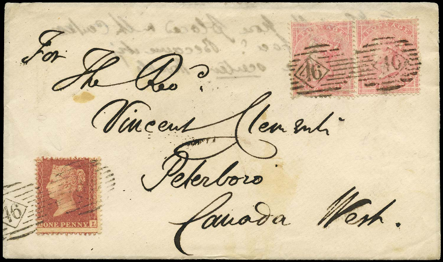 GB 1861  SG40, 66a Cover London to Peterboro, Canada