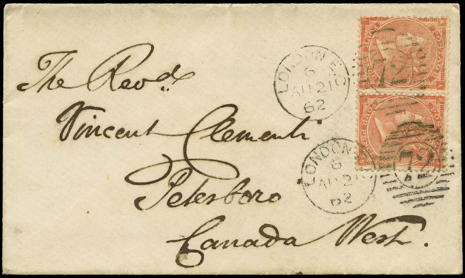 GB 1862  SG79 Pl.3 Cover London to Peterboro, Canada