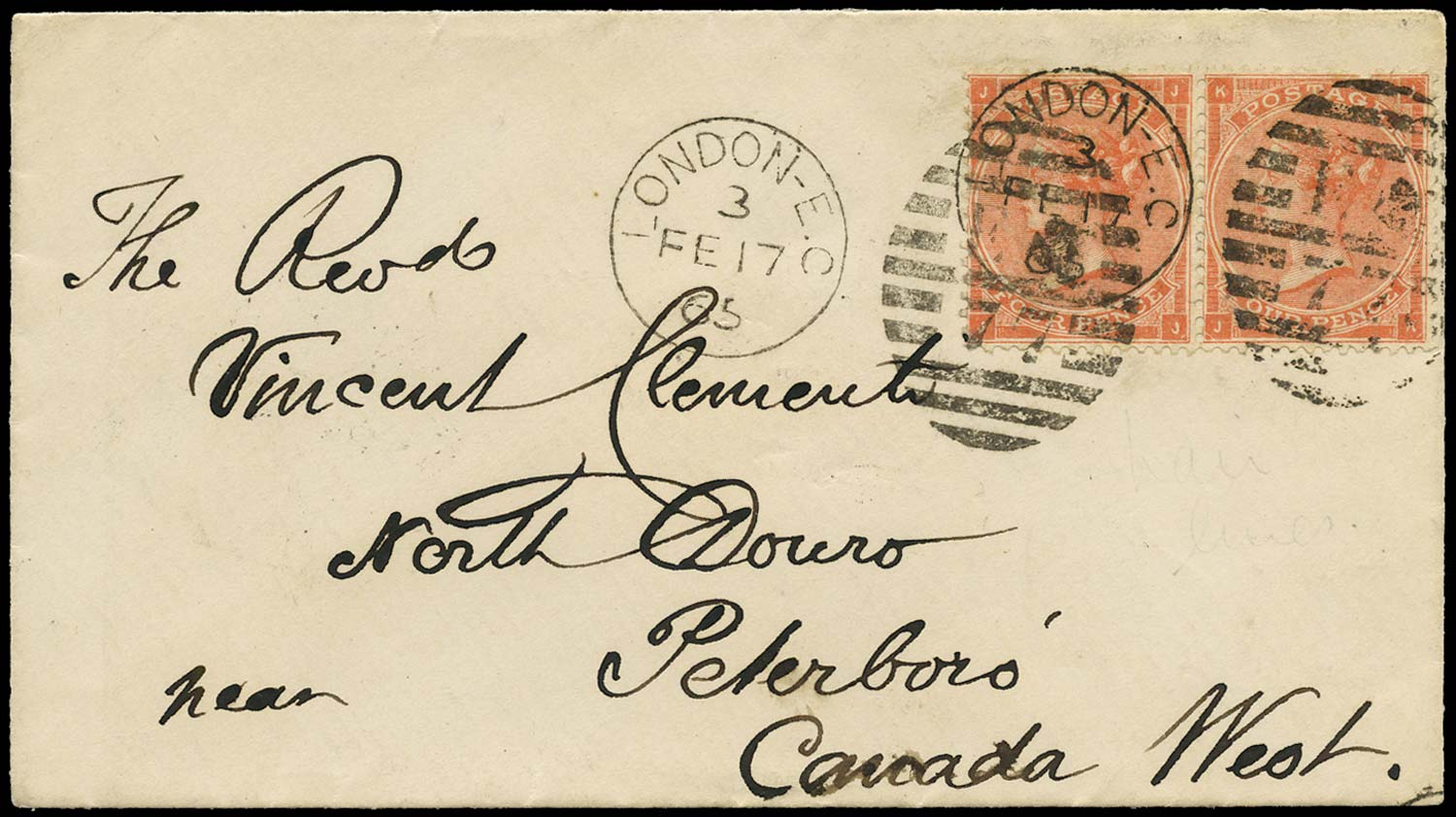 GB 1865  SG81 Pl.4 Cover London to North Douro, Canada