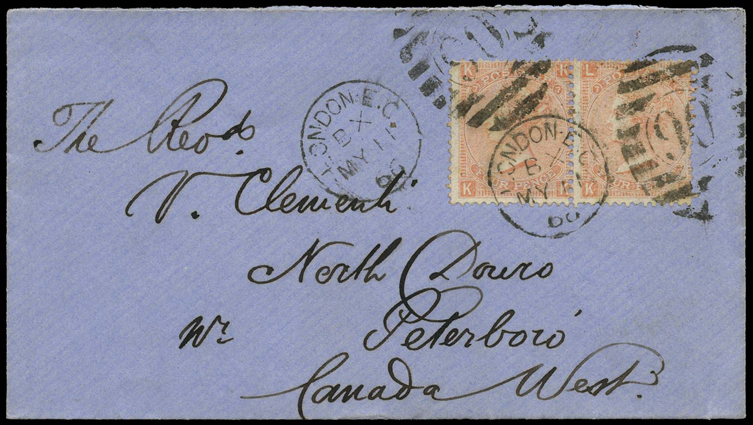 GB 1866  SG93 Pl.7 Cover London to North Douro, Canada