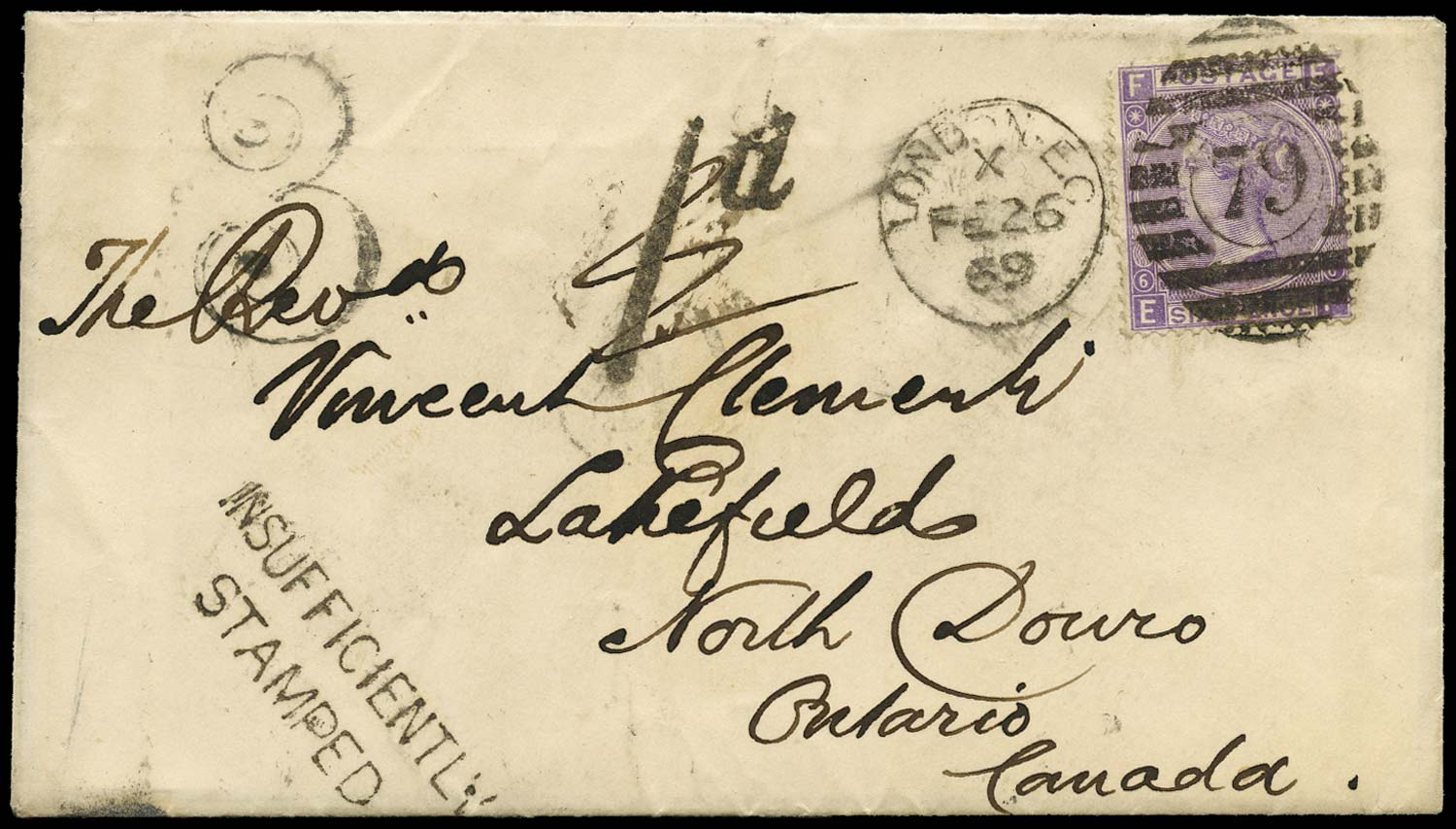 GB 1869  SG106 Pl.6 Cover London to Lakefield, North Douro, Canada