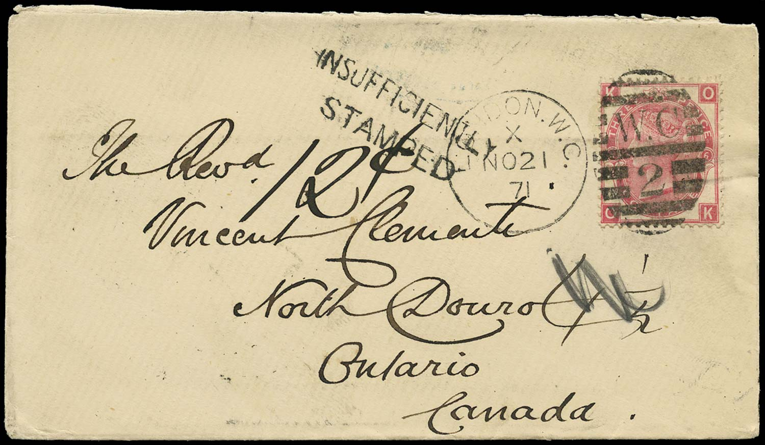 GB 1871  SG103 Pl.6 Cover London to North Douro, Canada