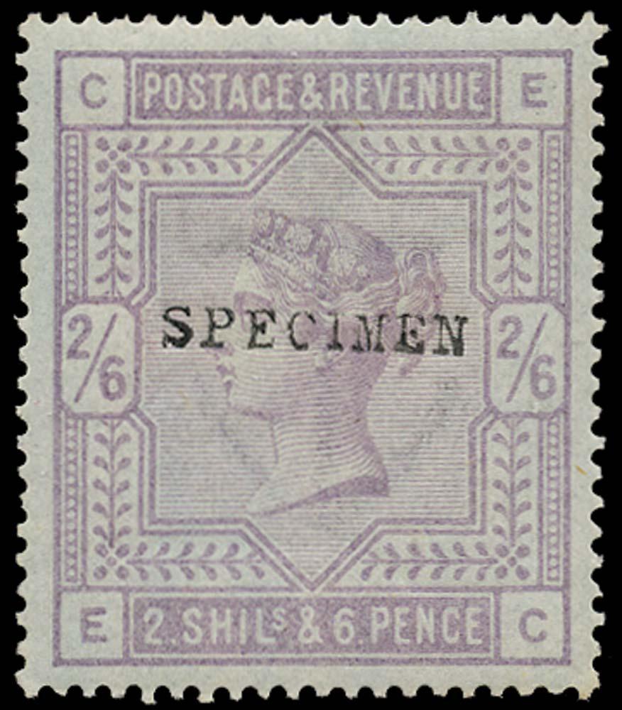 GB 1883  SG175s Specimen - Type 9 on blued paper